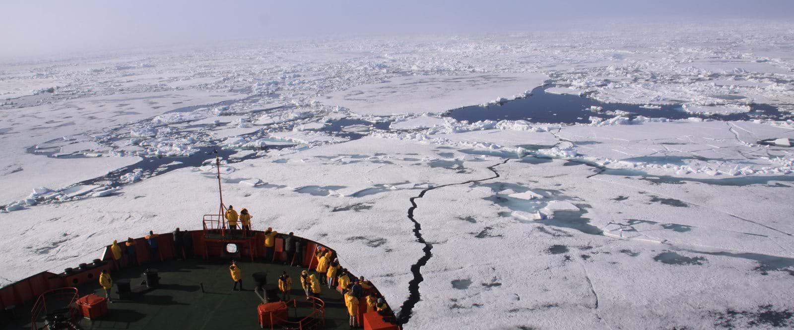 The vessel cruising trough the pack ice