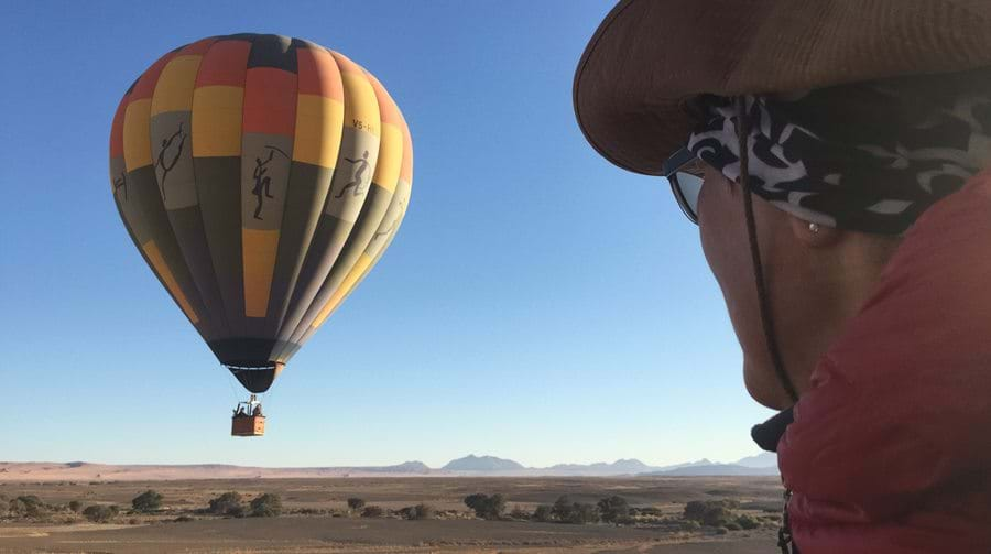 baloon, namib desert, bird's eye view